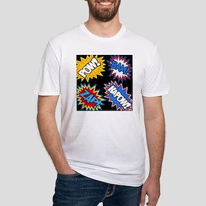 Hero Comic Pow Bam Zap Bursts Fitted T-Shirt