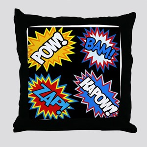 Hero Comic Pow Bam Zap Bursts Throw Pillow