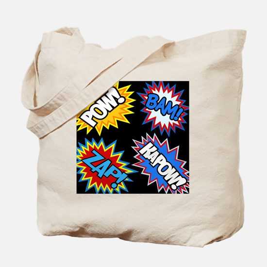 Hero Comic Pow Bam Zap Bursts Tote Bag
