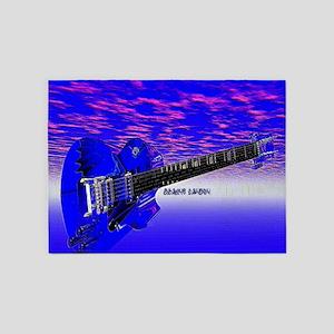 Big Blue Guitar 5'x7'Area Rug