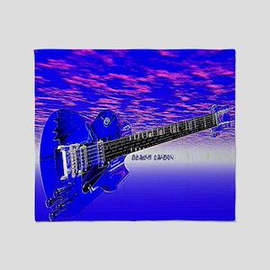 Big Blue Guitar Throw Blanket