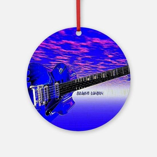 Big Blue Guitar Round Ornament
