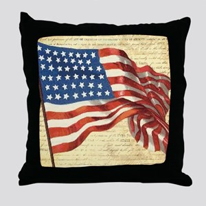 Vintage American Flag Patriotic Throw Pillow