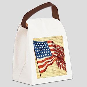 Vintage American Flag Patriotic Canvas Lunch Bag