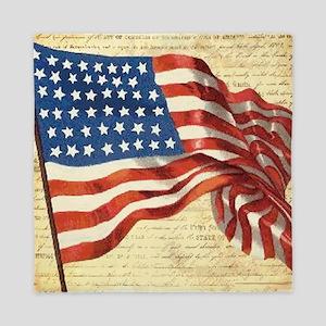 Vintage American Flag Patriotic Queen Duvet