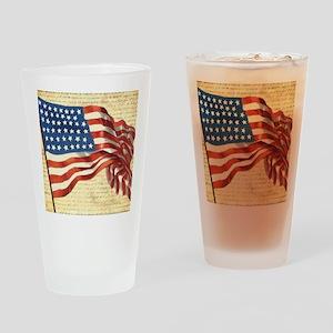 Vintage American Flag Patriotic Drinking Glass