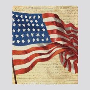 Vintage American Flag Patriotic Throw Blanket