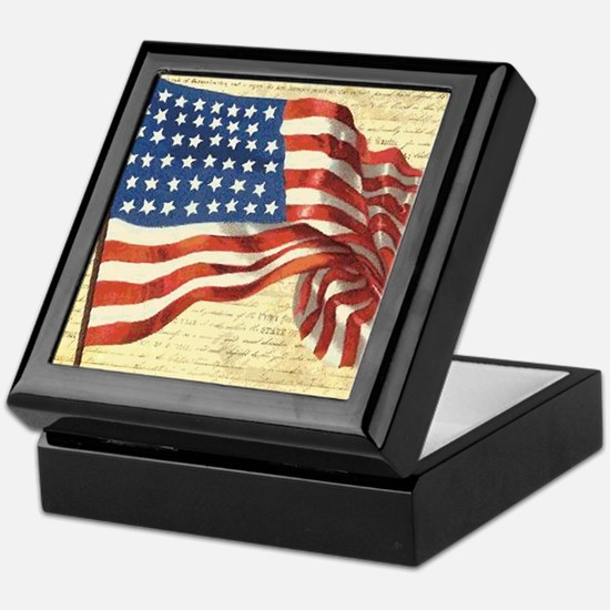 Vintage American Flag Patriotic Keepsake Box