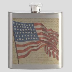 Vintage American Flag Patriotic Flask