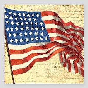 "Vintage American Flag Pa Square Car Magnet 3"" x 3"""