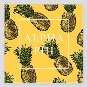"Alpha Phi Pineapples Square Car Magnet 3"" x 3"""