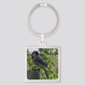 Smiling Blue Jay Square Keychain