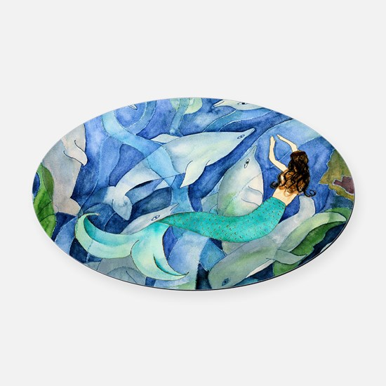 Dolphins and Mermaid party Oval Car Magnet