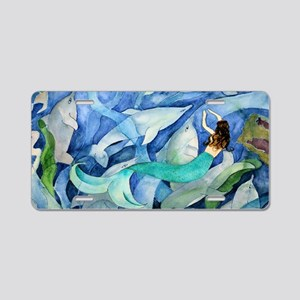 Dolphins and Mermaid party Aluminum License Plate