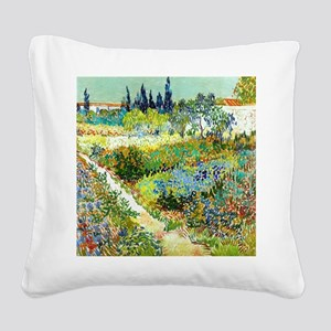 Van Gogh Arles Garden Flowers Square Canvas Pillow