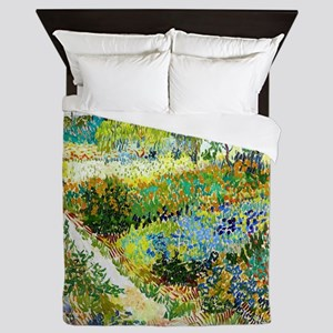 Van Gogh Arles Garden Flowers Queen Duvet