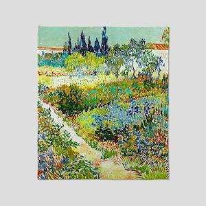 Van Gogh Arles Garden Flowers Throw Blanket