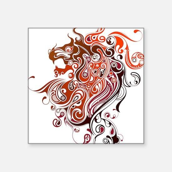 "Tribal Lion Square Sticker 3"" x 3"""