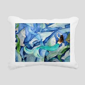 Dolphins and Mermaid par Rectangular Canvas Pillow