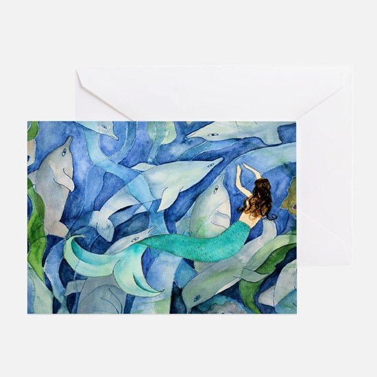 Dolphins and Mermaid party Greeting Card