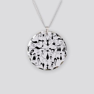Cat Love Necklace Circle Charm