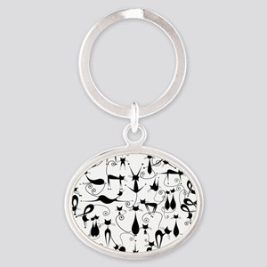 Cat Love Oval Keychain