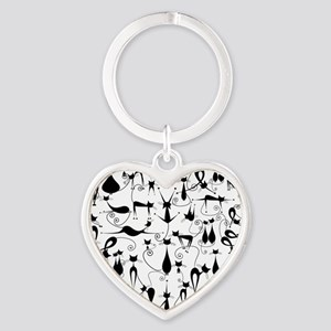 Cat Love Heart Keychain