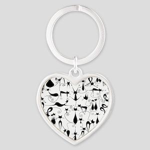 Cat Love Heart Keychain