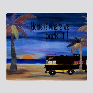 Home is where we park it camper Throw Blanket