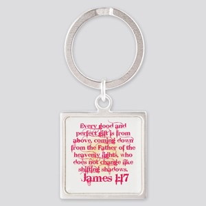 James 1:17 in Pink Square Keychain