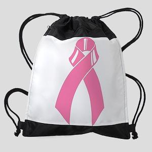 Breast cancer pink ribbon Drawstring Bag