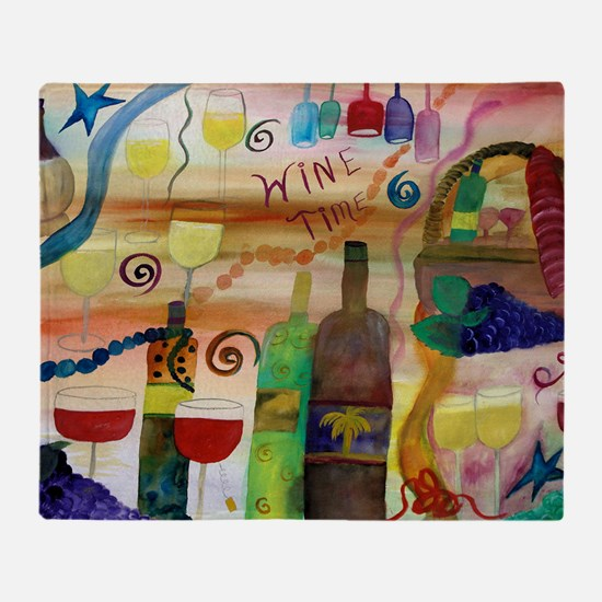 Wine Time Art Throw Blanket