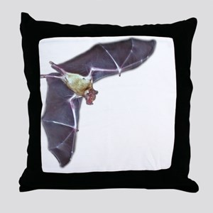 bat in flight 10blk Throw Pillow