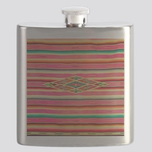 Vintage Pink Mexican Serape Flask
