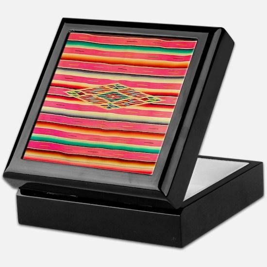 Vintage Pink Mexican Serape Keepsake Box