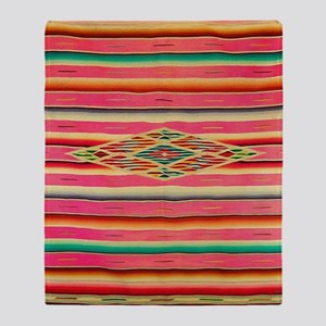 Vintage Pink Mexican Serape Throw Blanket