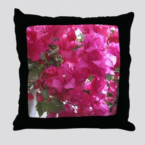 Bright Pink Flowers Throw Pillow