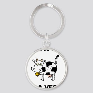 Save Cow Vegan Round Keychain