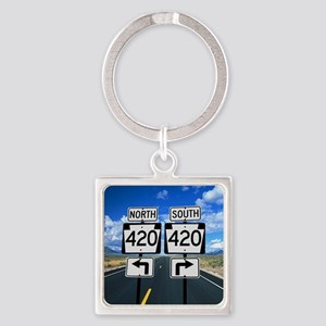 420 Roadsigns Square Keychain