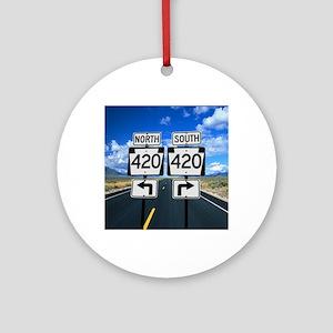 420 Roadsigns Round Ornament
