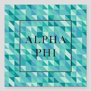 "Alpha Phi Geometric Square Car Magnet 3"" x 3"""