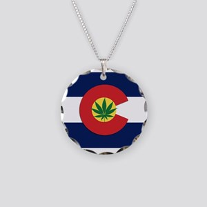 Colorado State Pot Flag Necklace Circle Charm