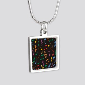 Music Notes Silver Square Necklace