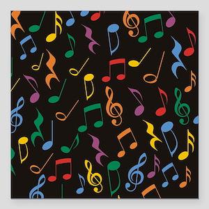 "Music Notes Square Car Magnet 3"" x 3"""