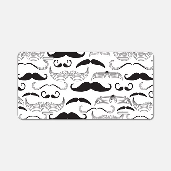 Mustache Black Aluminum License Plate