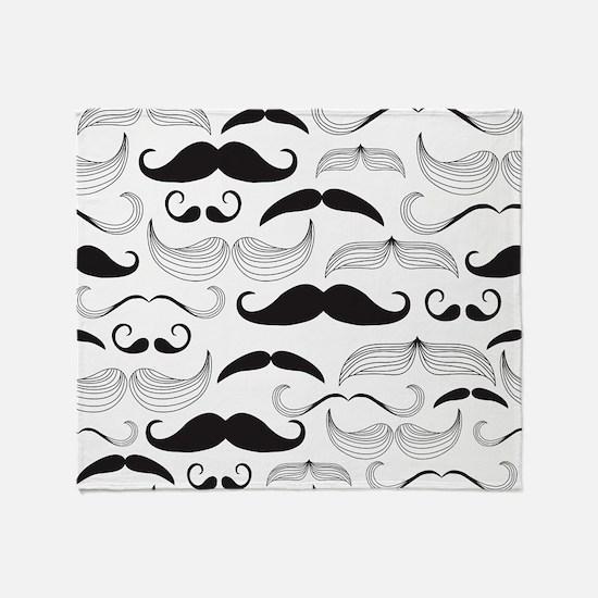 Mustache Black Throw Blanket
