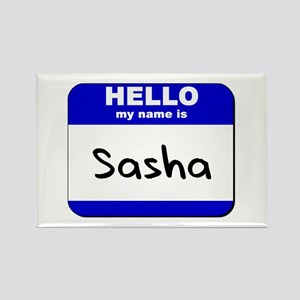 hello my name is sasha Rectangle Magnet