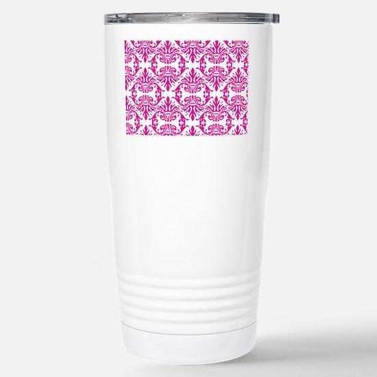 Damask Pink Stainless Steel Travel Mug