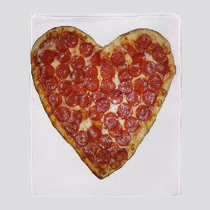 heart pizza Throw Blanket