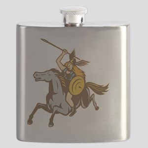 Valkyrie Riding Horse Retro Flask